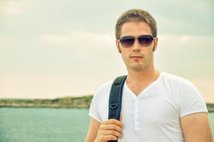 Portrait of male tourist. Royalty Free Stock Photography