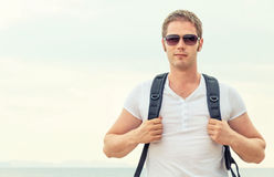 Portrait of male tourist. Royalty Free Stock Images