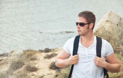 Portrait of male tourist. Portrait of male tourist with backpack Stock Photos