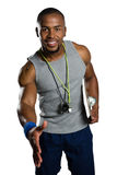 Portrait of male trainer extending arm for handshake Royalty Free Stock Photography