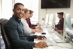 Portrait Of Male University Student Using Online Resources Royalty Free Stock Photography