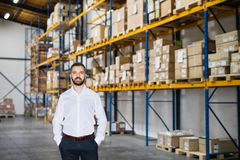 Portrait of a male warehouse worker or supervisor. Portrait of a male warehouse worker or a supervisor, hands in pockets Royalty Free Stock Image