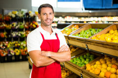 Portrait of male worker. In grocery store Royalty Free Stock Image