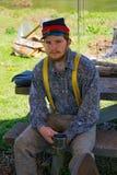 Portrait Male Yankee Reenactor. Buchanan, VA - April 28th ; A portrait of a male Yankee reenactor with his musket at the annual Buchanan Civil War History Stock Images