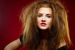 Portrait of the malicious girl with a mad hairdres Royalty Free Stock Image