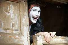 Portrait of a Man mime. Royalty Free Stock Image