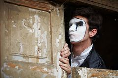 Portrait of a Man mime. Stock Photo