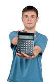 Portrait of man. With calculator on isolated white background Stock Photography