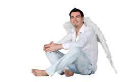 Portrait of a man with angel wings Royalty Free Stock Photography
