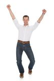 Portrait of man with arm raised Stock Images