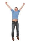 Portrait Of Man With Arm Raised Stock Image