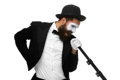 Portrait of a man as mime with tube or retro style Stock Photo