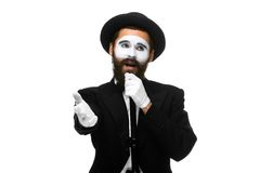 Portrait of a man as mime with tube or retro style Royalty Free Stock Photo