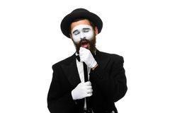 Portrait of a man as mime with tube or retro style Stock Image
