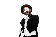 Portrait of a man as mime with tube or retro style Royalty Free Stock Photos