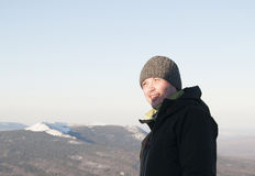 Portrait of a man in the background of the Ural mountains, Russia Stock Image