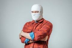 Portrait of man bandaged up Royalty Free Stock Images