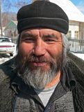 Portrait of Man with Beard 2. A portrait close up men, the representative of one of small indigenous peoples of Russian Far East. His name is Valery Eusan Stock Photo