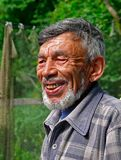 Portrait of Man with Beard. A portrait of the old weather-burned smiling man with grey beard. Sunny day, summer. Russian Far East, Primorye Stock Image