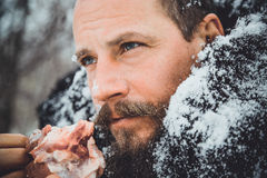 Portrait of a man with a beard devouring raw meat. Hungry northern bearded eats meat. Survivor northern bearded man with a piece of meat Royalty Free Stock Photography