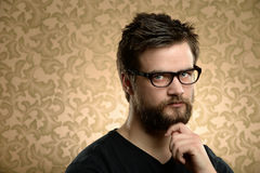 Portrait of Man With Beard and Glasses Royalty Free Stock Photo