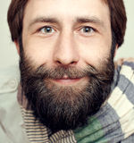 Portrait of the man with a big beard and mustaches. Portrait of the young man with a big beard and mustaches on a white background Stock Photo