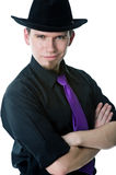 Portrait of man in black hat Stock Photo