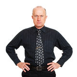 Portrait of man in black shirt. Portrait of businessman in black shirt. isolated on white background Royalty Free Stock Images