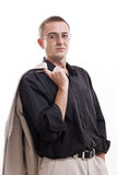 Portrait of man in black shirt wearing glasses. Royalty Free Stock Image