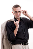 Portrait of man in black shirt wearing glasses. Stock Photography