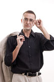 Portrait of man in black shirt wearing glasses. Royalty Free Stock Images