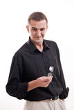 Portrait of man in black shirt on a white background Royalty Free Stock Image