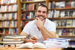 Portrait of a man in a bookstore Royalty Free Stock Photos