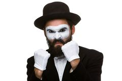 Portrait of a man boxing in makeup mime Royalty Free Stock Photo
