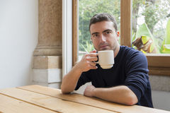 Portrait man breakfast Stock Images