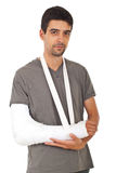 Portrait of man with broken hand royalty free stock images