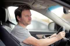 Portrait of man in a car Royalty Free Stock Images
