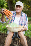 Portrait of man with carrots and cabbage at garden royalty free stock images