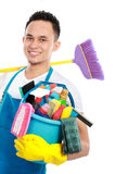 Male cleaning service. Portrait of man with cleaning equipment isolated over white background royalty free stock images