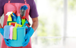 Portrait of man with cleaning equipment Royalty Free Stock Photography