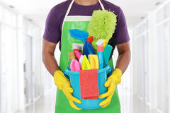 Portrait of man with cleaning equipment Stock Photos