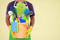 Portrait of man with cleaning equipment Stock Photography