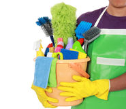 Portrait of man with cleaning equipment Royalty Free Stock Image