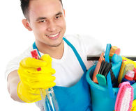 Cleaning service spraying Royalty Free Stock Image