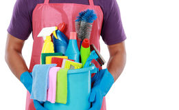 Portrait of man with  cleaning equipment thumbs up Royalty Free Stock Images