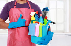 Portrait of man with  cleaning equipment thumbs up Stock Image