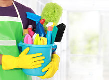 Portrait of man with  cleaning equipment thumbs up Stock Photography
