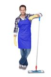 Portrait of a man cleaning floor Royalty Free Stock Photography
