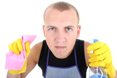 Portrait of man with cleaning supplies Stock Photos