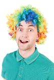 Portrait of a man in a clown wig. Stock Photography